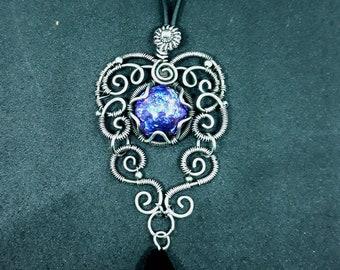 Blue Pink Rainbow Fire Dragon Glass Silver Gothic Chandelier Pendant - Goth WireWrap Necklace