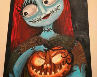 """10"""" x 8"""" Sally The Ragdoll Painting - Nightmare Before Christmas - Gothic Home Decor - Halloween - Goth"""
