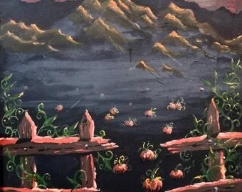 Halloween Gothic Painting 59cm x 45cm - Pumpkins Full Moon Castle Ruins - Pumpkin Patch Mountains Goth Landscape Art - Spooky, Bats, Night