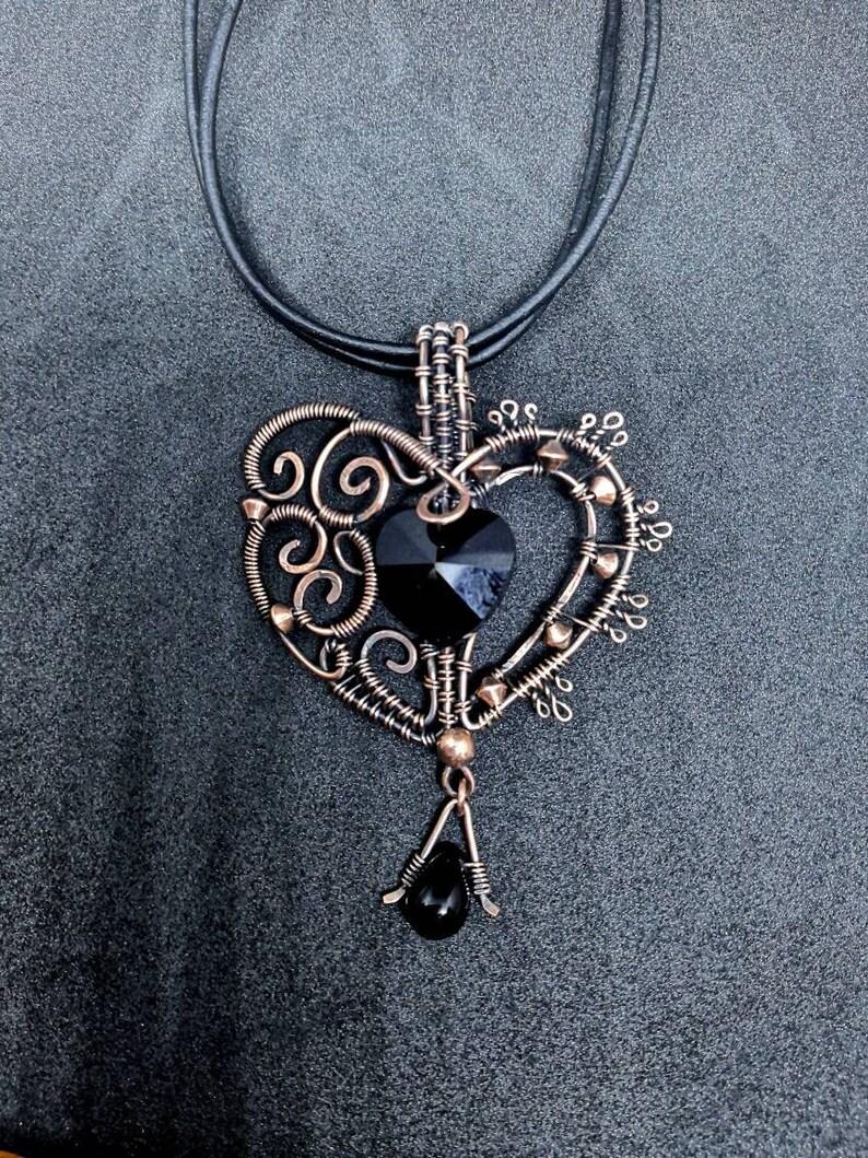 Black Heart Copper WireWrap Gothic Pendant  Goth Openwork image 0