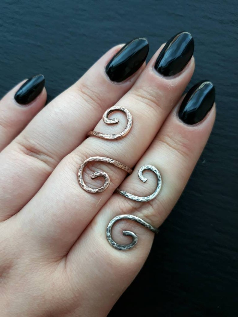 MADE TO SIZE Silver or Copper Patterned Swirl Simple Ring  image 0
