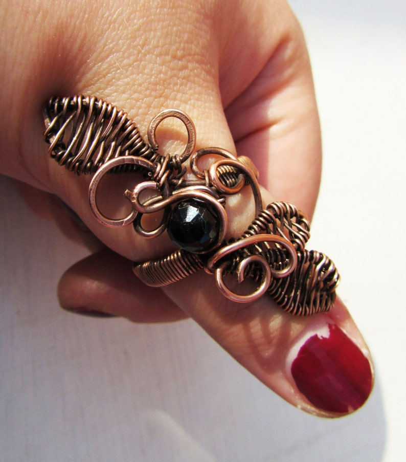 Copper Wire-wrapped Black Spinel Gemstone Statement Ring  image 0
