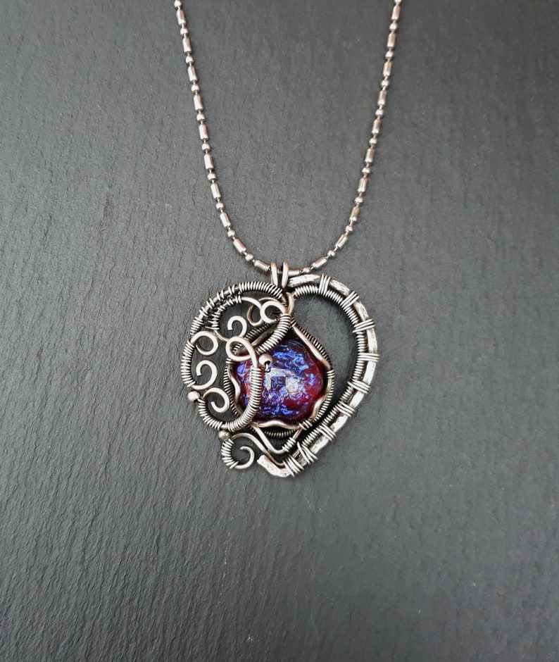 Blue Pink Dragon's Glass Heart Gothic Pendant  Rainbow image 0
