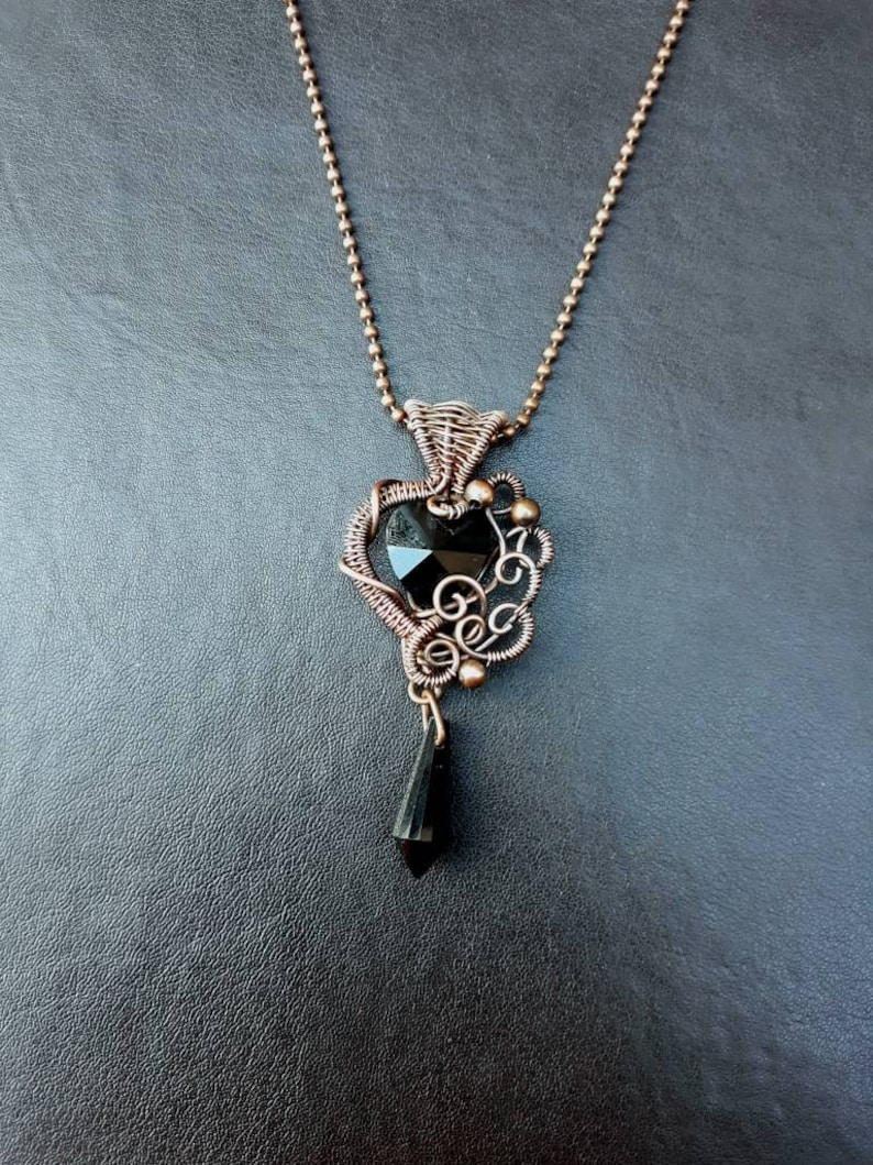 Copper Wire-wrapped Black Crystal Heart Pendant  Gothic Black image 0