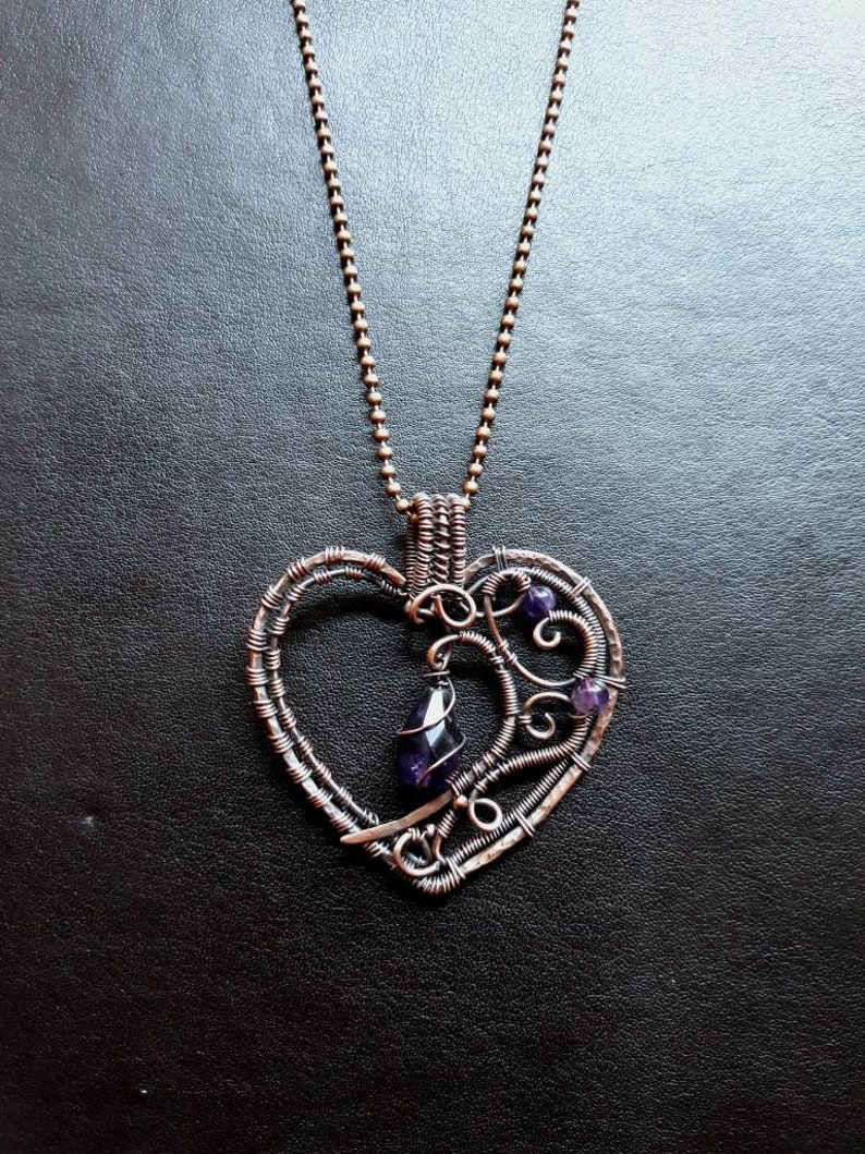 Purple Amethyst Gothic Copper Wire Wrap Heart Pendant  Goth image 0