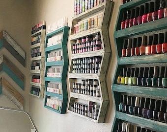 Nail Polish shelf, nail polish rack, nail polish organizer, nail polish holder, Chevron, arrow, wall decor, Hanging shelf, bathroom shelf