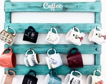 Coffee lover, turquoise home decor, Coffee Bar, housewarming gift, Coffee cup rack, cup holder, kitchen decor, mug rack, tea cup holder