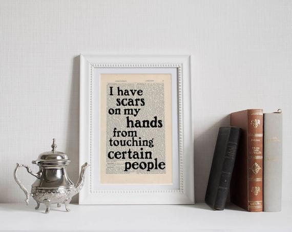 Mam Blizny Na Rękach Od Dotykania Niektórych Osób Jd Salinger Cytat Wydruku Na Stronie Antyczne