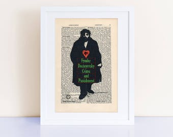 Crime and Punishment by Fyodor Dostoyevsky Print on an antique page, book cover art, book lover gift