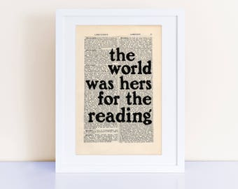 The world was hers for the reading, Betty Smith Quote Print on an antique page, A Tree Grows in Brooklyn, gifts ideas for women
