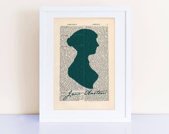 Jane Austen Print on an antique page, Jane Austen, Pride and Prejudice, Austen Gifts, austen designs