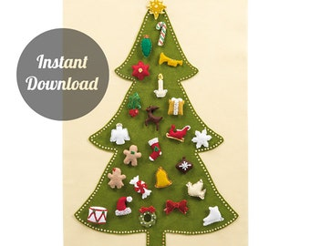 Felt Advent Calendar Pattern - Traditional Christmas Tree Countdown with 24 Treasured Character Ornaments - DIY