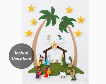 Nativity Advent Calendar Pattern - Star of Wonder Felt Countdown with 24 Magnetic Character Ornaments DIY