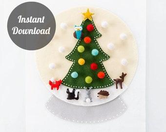 Felt Advent Calendar Pattern - Snow globe Countdown - Into the Woods with 24 Woodland Animal Ornaments DIY