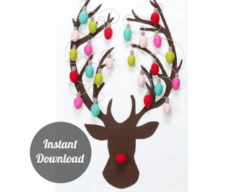 Advent Calendar Pattern - Rudolph the Red-Nosed Reindeer with 24 Modern Christmas Lights - Felt Countdown DIY Decoration