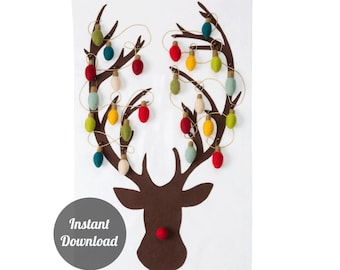 Advent Calendar Pattern - Rudolph the Red-Nosed Reindeer with 24 Classic Christmas Lights - Felt Countdown DIY Decoration