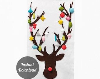 Reindeer Advent Calendar Pattern - Felt Countdown - Dashing Through the Snow with 24 Vintage Ornaments DIY