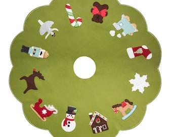 Tree Skirt Pattern - Christmas Favorites - Felt Sewing - Sequin Beads - Instant Download DIY
