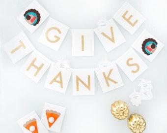 Thanksgiving Pennant Banner - Pattern - Give Thanks Countdown - Fall Autumn Decoration DIY