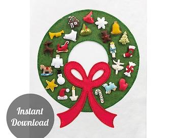 DIY Felt Wreath Advent Calendar Pattern - Christmas Countdown - 'Carol of the Bells with 24 Treasured Character Ornaments'