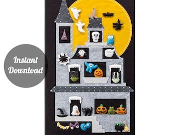 Halloween Countdown Calendar Pattern - Felt Haunted Moonlit 'Monster House' + 30 Magnetic Spooky Ornaments DIY PDF