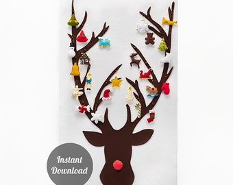 Christmas Advent Calendar Sewing Pattern - DIY Felt Countdown - Rudolph the Red Nosed Reindeer with 24 Treasured Characters