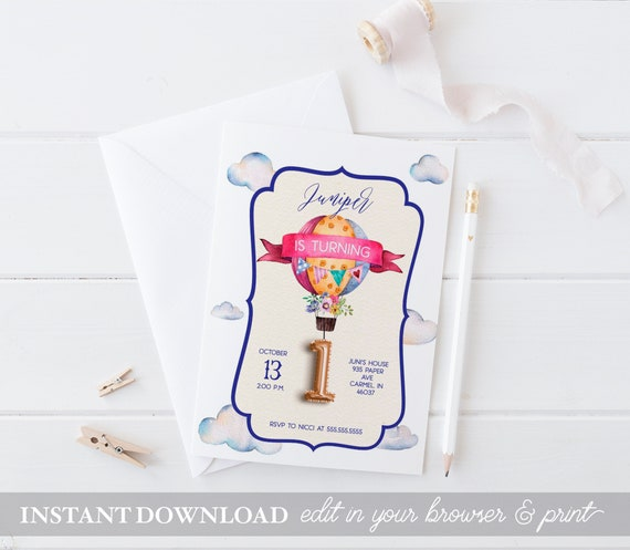 Hot air balloon birthday party invitations instant download etsy image 0 filmwisefo