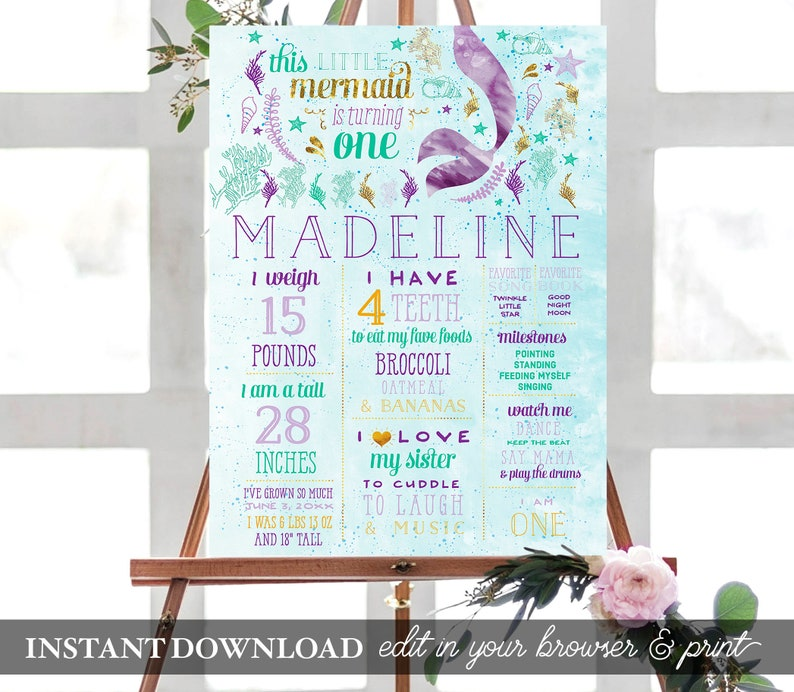 image regarding Printable Poster Board known as Mermaid 1st Birthday Poster Board Prompt Obtain Milestones Poster PRINTABLE Indication Customized Birthday Figures Image Prop 1st Birthday