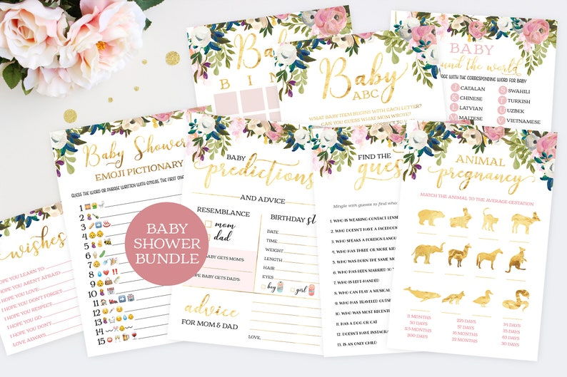 Floral Baby Shower Games. Baby Girl Shower Games. Printable image 0