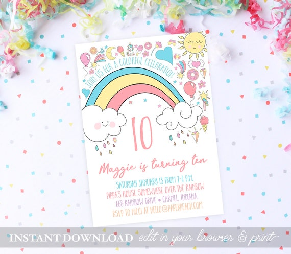Rainbow Birthday Party Invitations INSTANT DOWNLOAD Invites PRINTABLE Template Baby Girl First Editable Unicorn Magical
