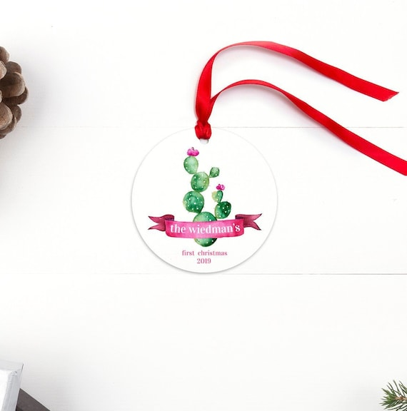 present for engaged couple first doe buck source family first christmas ornament with desert cactus illustration