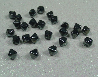 PYRAMID BEAD DOUBLE 6MM HEMATITE BOHEMIAN GLASS