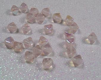 PYRAMID BEAD DOUBLE 6MM ROSALINE AB CZECH GLASS