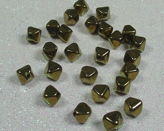 PYRAMID BEAD DOUBLE 6MM BRONZE GOLD BOHEMIAN GLASS