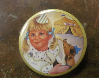 Pigtails and Puppies  Advertising Pinback or Badge by Lorrine Trester   Little Clown Series