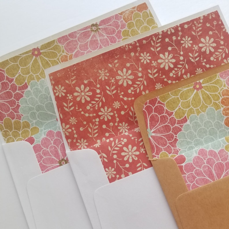 Vintage Greeting Cards Handmade Blank Note Cards for all Occasions Pack of 4 envelope liner w matching card