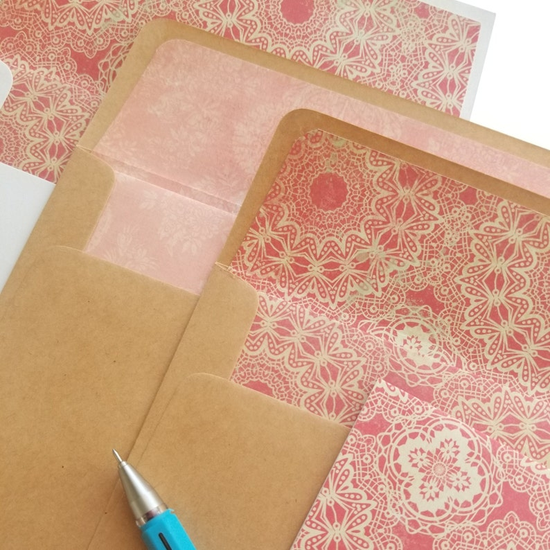 Handmade Blank Note Cards for all Occasions Pack of 4 envelope liner w matching card Vintage Greeting Cards