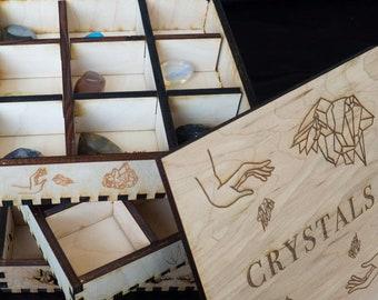 Stacked Crystal Wooden Box Separator Rock Sacred Altar Box