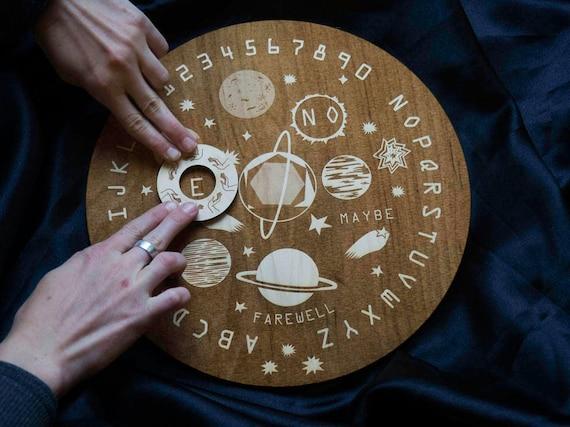 Wooden Ouija Board Round Spirit Board Specialty Designed Space Etsy