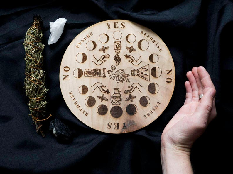 Pendulum Board Potions Modern Wooden Board Divination Witch Scrying Spirit  Dowsing Seance Occult Pagan
