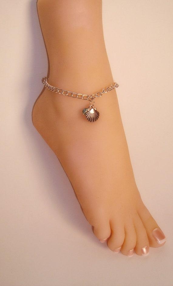 Silver Seashell Anklet Seashell Ankle Bracelet Beach Etsy