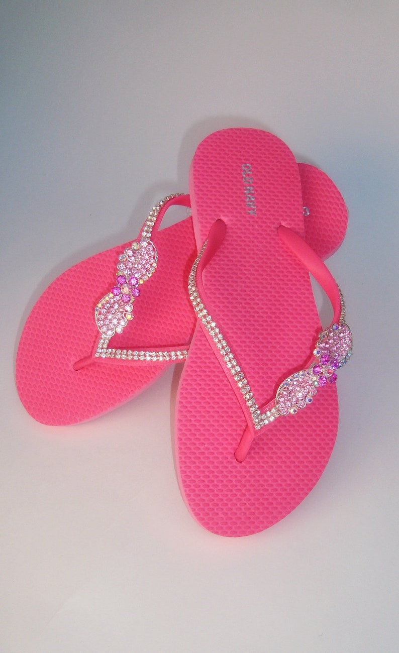 dfe3b2a1b6879a Pink Flip Flops Rhinestone Flip Flops Bridesmaid Sandals