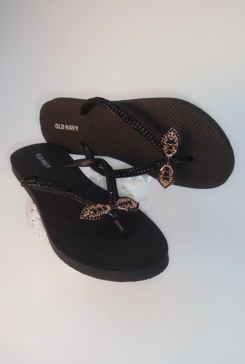 1b8f07042152 Black Flip Flops Rhinestone Flip Flops Wedding Sandals