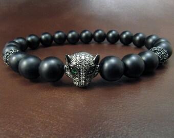 EXPRESS SHIPPING - Black Panther Bracelet, Natural Onyx Swarovski Bracelet, Leopard Head Mens Mala Bracelet