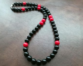 EXPRESS SHIPPING - Mens Healing Stone Necklace Black Onyx Red Coral Natural Stone Necklace Mens Beaded Necklace For Him ,