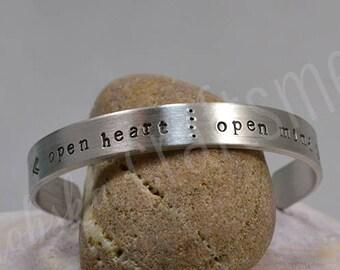 Open Heart Open Mind Pewter Bracelet