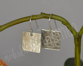 Square Etched Pewter Earrings with Dogwood