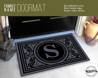 """Custom Initial Monogram Welcome Mat/Doormat/Rug - 24"""" x 36"""" - High Quality Digital Print, Dye-Sublimation, Weatherproof - Indoor/Outdoor"""