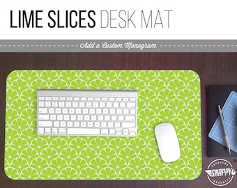 Lime Slices Pattern Print Desk Mat w/ Custom Monogram - 2 Sizes -  Office Desk Accessory - Extended Mouse Pad