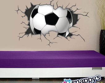 Soccer Ball Wall Decal Breaking Through, bursting, shattering the wall decal for boys or girls room. (Removable Wall Decal)